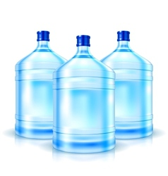 Three big bottles with clean water vector image vector image