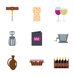 Wine restaurant icon set flat style vector