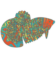Zentangle doodle fish - colorful version of vector