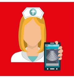 Nurse smartphone care health vector
