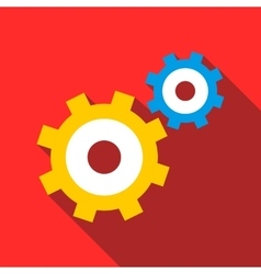 Gear mechanism icon flat style vector