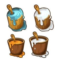 Wooden buckets with blue white and yellow paint vector image