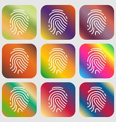 Scanned finger icon sign nine buttons with bright vector