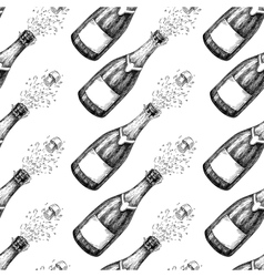 Champagne seamless pattern bottle explosion hand vector