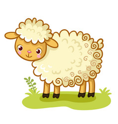 Curly sheep stands on a glade vector