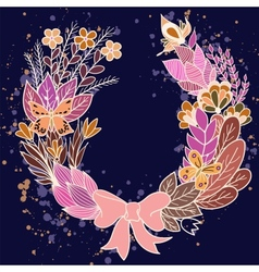 Handdrawn floral wreath with purple flowers vector