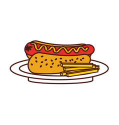 fast food hot dog sausage french fries and mustard vector image