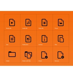 Set of files icons on orange background vector
