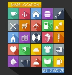 Shared location flat icon long shadow vector