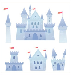 Cute cartoon medieval castle and set of towers vector