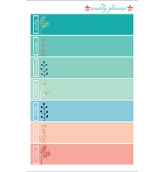 Weekly planner pastel color sweet vector