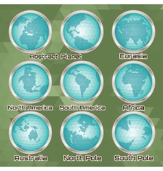 Set of polygonal abstract globes with mainlands vector
