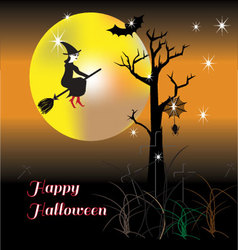 Happy halloween night with happy witch vector