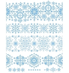 Snowflakes seamless borders setwinter pattern vector