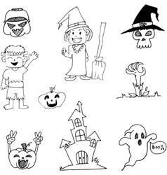 Halloween character in doodle art vector