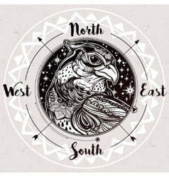 Wind rose compass with bird of prey head vector