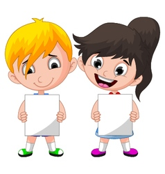 Two cute children holding blank sign vector