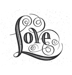 Love hand lettering handmade calligraphy on vector