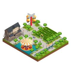 Amusement Park And Attractions Isometric Concept vector image
