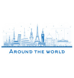 around the world outlinetravel concept with vector image