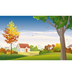 Autumn suburb vector image vector image