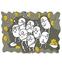 Bitcoin mining doodle vector