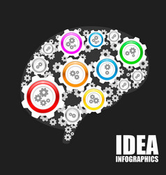 brain gears sign vector image vector image