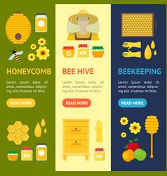 cartoon honey banner vecrtical set vector image vector image