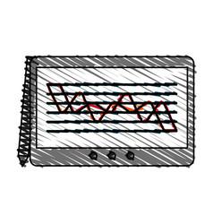 Color crayon stripe cartoon digitizing tablet with vector