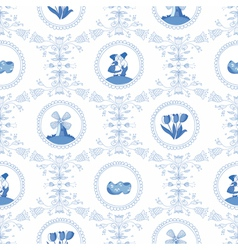 Delft blue seamless pattern vector