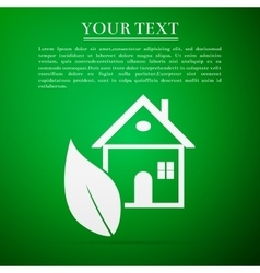 Eco house flat icon on green background vector