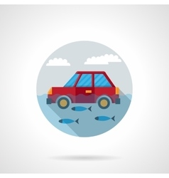 Flood disaster flat color design icon vector
