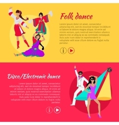Folk and disco or electronic dance web banner vector