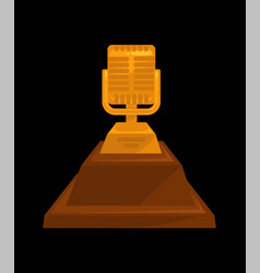 Gold shiny microphone on steady stand isolated vector