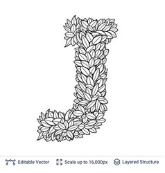 letter j symbol of white leaves vector image