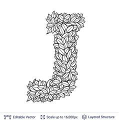 Letter j symbol of white leaves vector