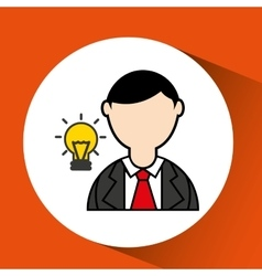 man bearded and bulb creativity icon vector image