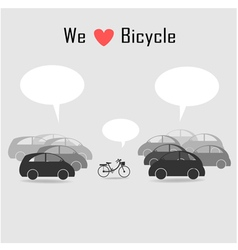 Many car and bicycle vector