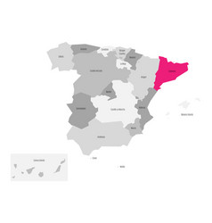 Map of spain devided to 17 administrative vector