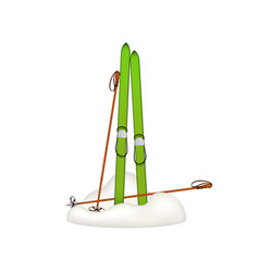 Old wooden skis and old ski poles standing in snow vector