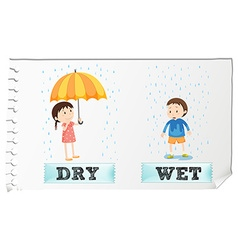 Opposite adjectives dry and wet vector image vector image
