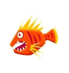 Red agressive fantastic aquarium tropical fish vector