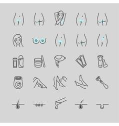 set of epilation icons vector image