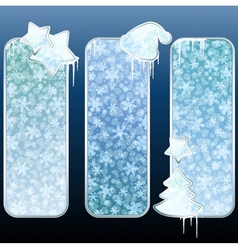 set of glossy vertical banners with icicles vector image