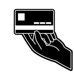 Silhouette business electronic credit card in the vector