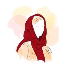 Silhouette woman in dark red turban vector
