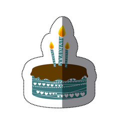 Sticker colorful picture birthday cake with vector
