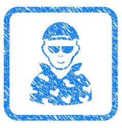 Swat soldier framed stamp vector
