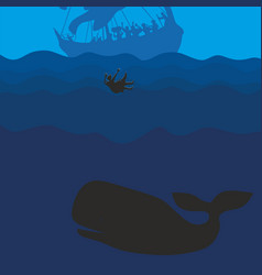 The prophet jonah and the whale vector