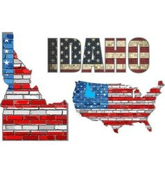 USA state of Idaho on a brick wall vector image